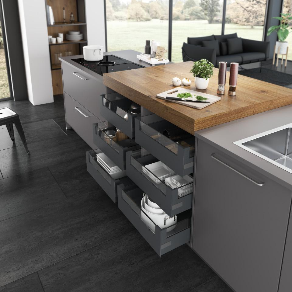 Durchdachte Stauraumlösungen erleichtern den Küchenalltag